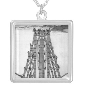 Erecting the Ancient Egyptian Obelisk Silver Plated Necklace