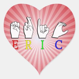 ERIC FINGERSPELLED ASL NAME SIGN HEART STICKER