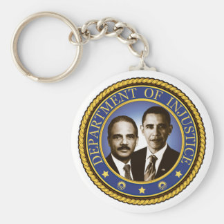 Eric Holder and the Department of Injustice Basic Round Button Key Ring