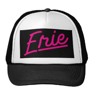 Erie in magenta trucker hat