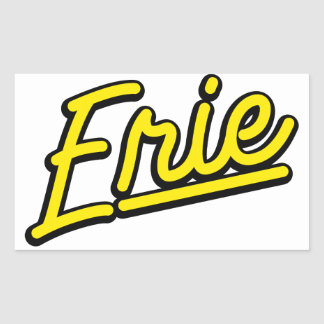 Erie in yellow rectangle stickers