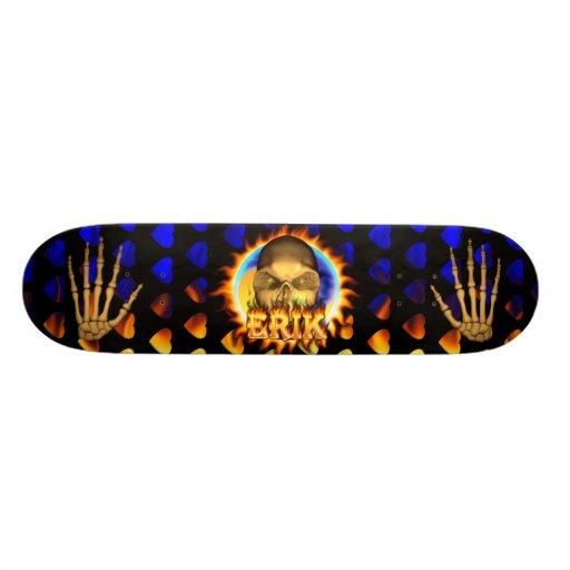 Erik skull real fire and flames skateboard design