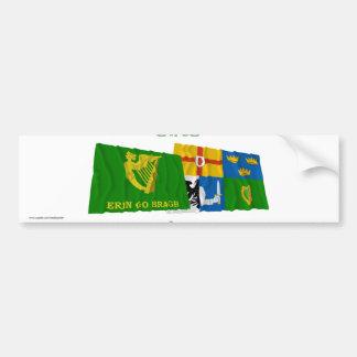 Erin Go Bragh and Four-Province Waving Flags Car Bumper Sticker
