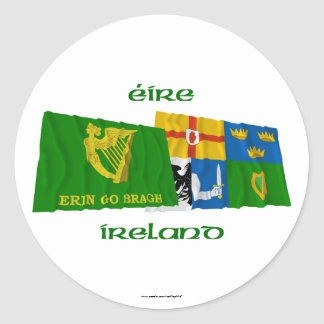 Erin Go Bragh and Four-Province Waving Flags Round Sticker