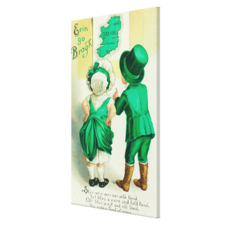 Erin Go Bragh Couple Looking at Ireland Map Gallery Wrapped Canvas