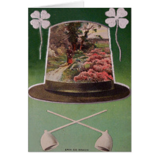 Erin Go Bragh Four Leaf Clover St Patrick's Day Greeting Card