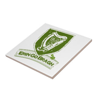 Erin go Bragh (Harp Grn) Small Square Tile