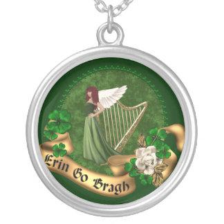 Erin Go Bragh Irish Round Pendant Necklace