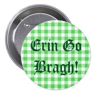 Erin Go Bragh! Saint Patrick's Day Green Gingham 7.5 Cm Round Badge