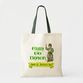 Erin Go Braugh Happy St. Patrick's Day Saying Budget Tote Bag