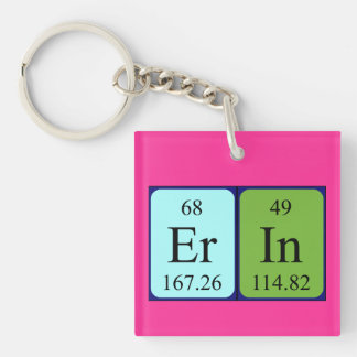 Erin periodic table name keyring Single-Sided square acrylic key ring