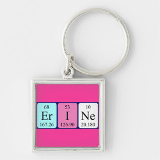 Erine periodic table name keyring Silver-Colored square key ring