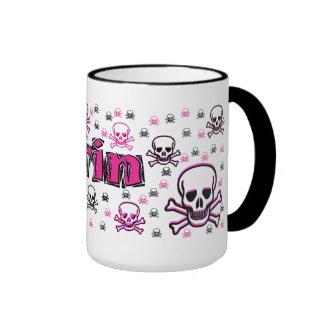 Erin's Pink & Black Skulls Coffee Mugs