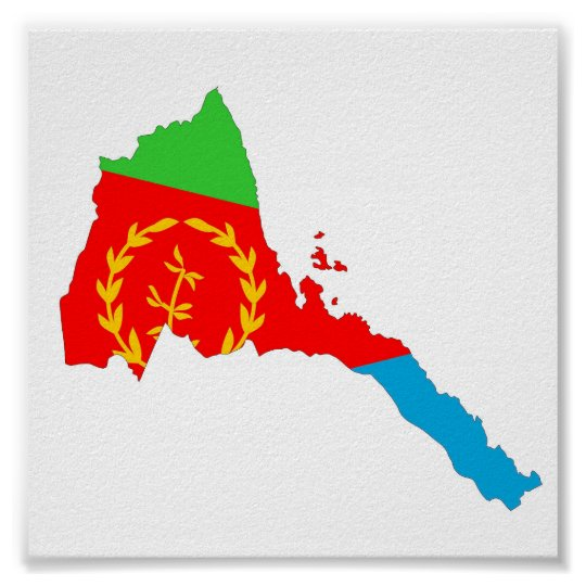 Eritrea country flag map shape silhouette poster