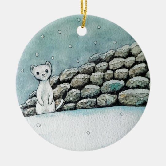 Ermine in the snow christmas ornament