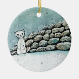 Ermine in the snow round ceramic decoration