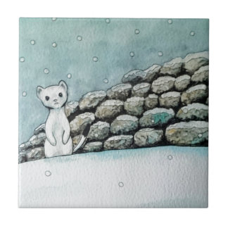 Ermine in the snow tile
