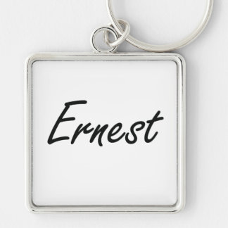Ernest Artistic Name Design Silver-Colored Square Key Ring