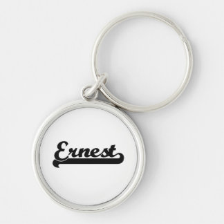 Ernest Classic Retro Name Design Silver-Colored Round Key Ring