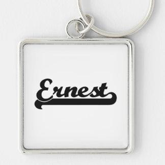 Ernest Classic Retro Name Design Silver-Colored Square Key Ring