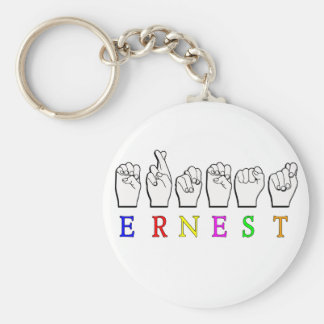 ERNEST FINGERSPELLED NAME ASL SIGN BASIC ROUND BUTTON KEY RING