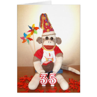 Ernie the Sock Monkey 35th Birthday Card