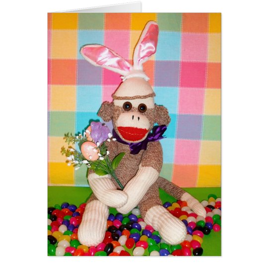Ernie the Sock Monkey Easter Bouquet Card