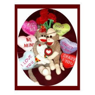 Ernie the Sock Monkey Hearts Valentine Postcard