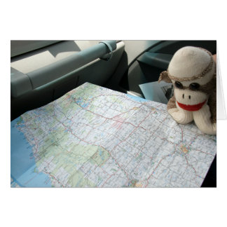 Ernie the Sock Monkey Map Reading Note Card