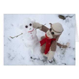 Ernie the Sock Monkey Snowman Holiday Card