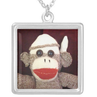 Ernie the Sock Monkey Square Necklace