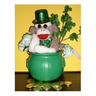 Ernie the Sock Monkey St. Patrick's Day Postcard