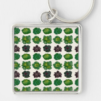 Ernst Benary's Cabbage Varieties Silver-Colored Square Key Ring