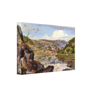 Ernst Frick - Stift Neuburg and Neckar Valley Canvas Print