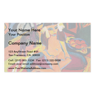 Ernst Ludwig Kirchner- Girl with Cat Franzi Business Card Template