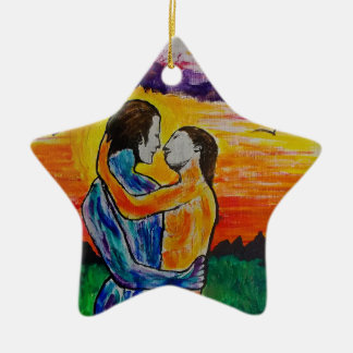 Eros and Psyche at sunset Ceramic Star Decoration