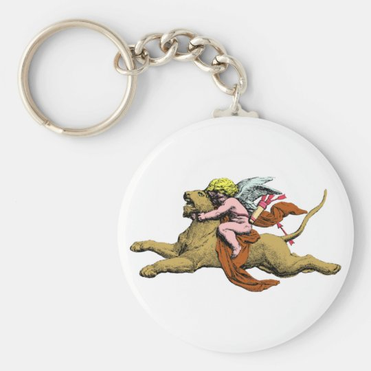 Eros rides lion rides lion basic round button key ring