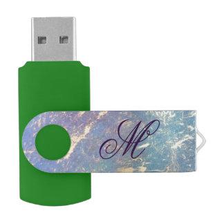 Erratic Tech | Monogram Watercolor Rainbow Gold USB Flash Drive