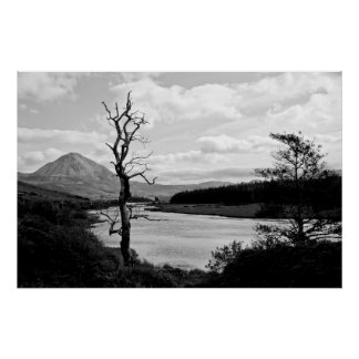 Errigal mountains and countryside in Ireland Posters