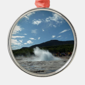 Erupting geyser in Iceland Christmas Ornament