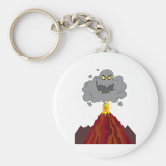 Erupting Of Volcano With Black A Black Cloud Basic Round Button Key Ring