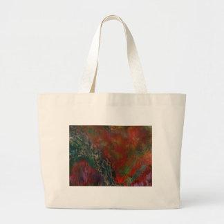 Erupting volcanic landscape large tote bag