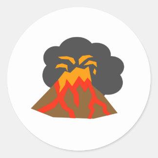 Erupting Volcano Round Stickers