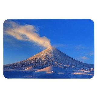 Eruption active Klyuchevskoy Volcano at sunrise Magnet
