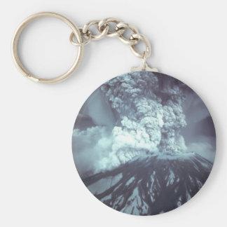 Eruption of Mount Saint Helens Stratovolcano 1980 Basic Round Button Key Ring