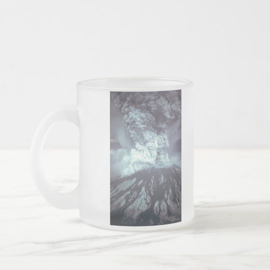 Eruption of Mount Saint Helens Stratovolcano 1980 Frosted Glass Coffee Mug