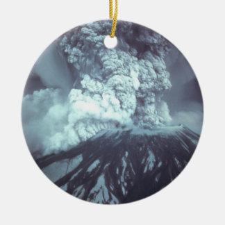 Eruption of Mount Saint Helens Stratovolcano 1980 Round Ceramic Decoration