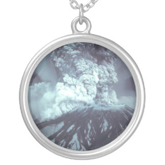 Eruption of Mount Saint Helens Stratovolcano 1980 Round Pendant Necklace