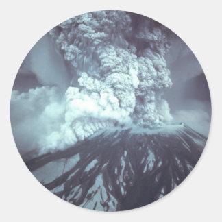Eruption of Mount Saint Helens Stratovolcano 1980 Round Sticker