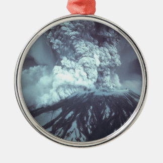 Eruption of Mount Saint Helens Stratovolcano 1980 Silver-Colored Round Decoration